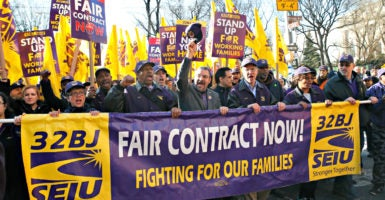 Members of a Service Employees International Union affiliate march in support of apartment building workers in New York City in 2014. That same year, SEIU organized and won a unionization election of personal care assistants in Minnesota. (Photo:  Mike Segar/Reuters /Newscom)