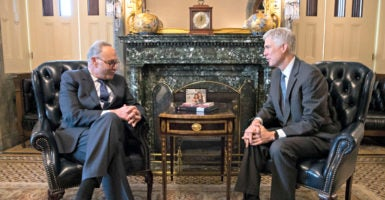 Senate Minority Leader Charles Schumer, D-N.Y., meets Feb. 7 with Supreme Court nominee Neil Gorsuch. (Photo: Shawn Thew/EPA/Newscom)