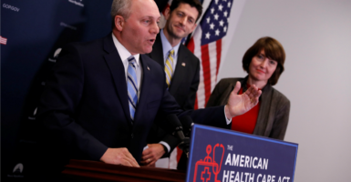 """""""When you look at where we are, there's over 85 percent of this bill that has universal agreement among Republicans,"""" House Majority Whip Steve Scalise said earlier this week. (Photo: Aaron P. Bernstein/Reuters/Newscom)"""