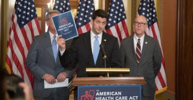 As the House prepares to vote on the GOP's health care bill, Speaker Paul Ryan, center, is facing opposition from Republicans in Congress, as well as in statehouses nationwide. Nearly 200 state lawmakers sent Ryan and Senate Majority Leader Mitch McConnell a letter urging them to make changes to the bill. (Photo: Jeff Malet Photography /Newscom)