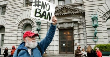 Outside the 9th U.S. Circuit Court of Appeals courthouse in San Francisco, protesters object to President Donald Trump's executive order restricting immigration from seven Middle Eastern countries that have been hotbeds for terrorism. (Photo: John G. Mabangla/EPA /Newscom)