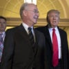 Health and Human Services Secretary Tom Price, left, and President Donald Trump, right, have been negotiating with members of the conservative House Freedom Caucus over the House GOP's health care bill. Freedom Caucus members are heading to the White House to meet with the president ahead of Thursday's vote. (Photo: Jim Lo Scalzo/EPA/Newscom)