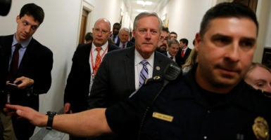 Rep. Mark Meadows, chairman of the House Freedom Caucus, said he planned to continue negotiating with the White House and centrist Republicans on the House GOP's health care bill after a vote on the plan was postponed. (Photo: Jonathan Ernst/Reuters/Newscom)