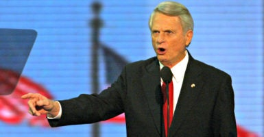 Then-Sen. Zell Miller, D-Ga., delivers a keynote address at the 2004 Republican National Convention after endorsing George W. Bush for re-election as president.  Some eight years earlier, as Georgia governor, Miller signed sweeping civil service reforms for state workers that some Georgians say could be a national model. (Photo: Irwin Thompson/KRT/Newscom)