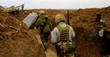 The Ukrainian trenches in Shyrokyne. (Photo: Nolan Peterson/The Daily Signal)
