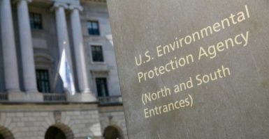 A sign outside of the Environmental Protection Agency's headquarters. Some states are challenging the Trump-era EPA's policies. (Photo: Kristoffer Tripplaar /TNS/Newscom)