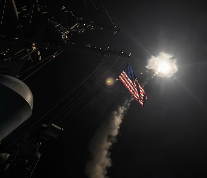 A missile is fired at the base in Syria from the USS Porter in the Mediterranean Sea. (Photo: U.S. Navy/Sipa USA/Newscom)
