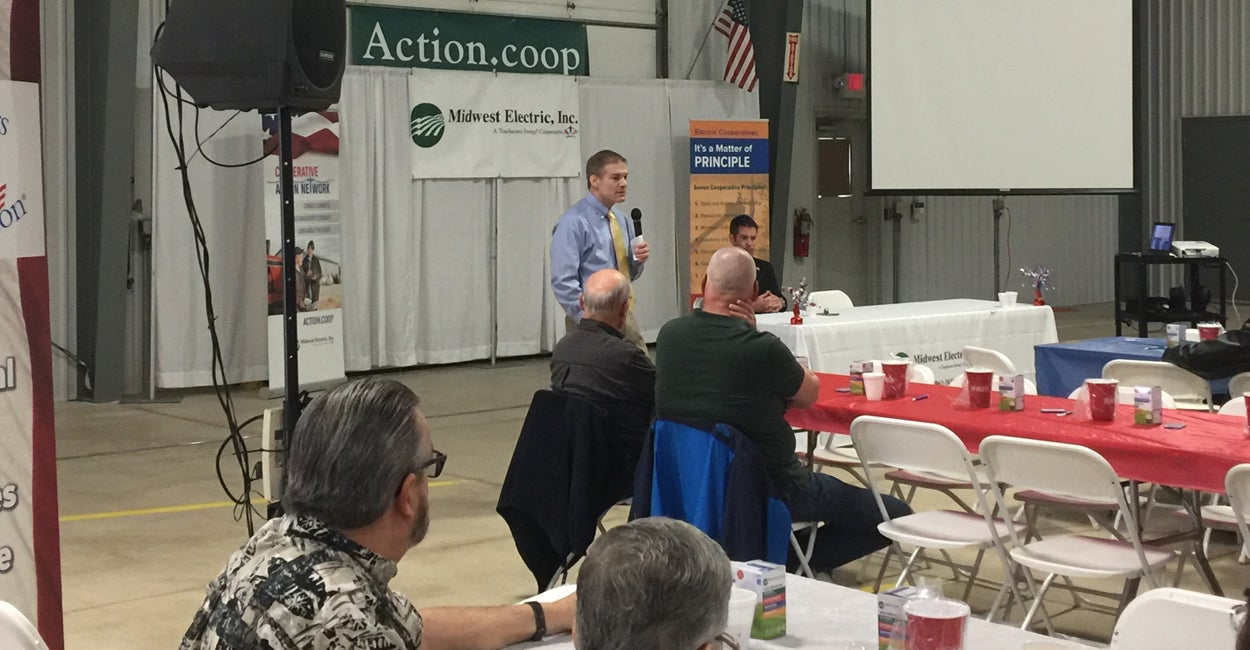 Rep. Jim Jordan, R-Ohio, takes questions from members of Ohio's Electric Cooperative during an event in St. Marys, Ohio. (Photo: Melissa Quinn/The Daily Signal)