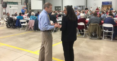Rep. Jim Jordan talks with a constituent during an event in St. Marys, Ohio. Jordan has been a vocal opponent of Obamacare, but his constituents in this part of Ohio's 4th Congressional District say they trust the conservative Republican. (Photo: Melissa Quinn/The Daily Signal)
