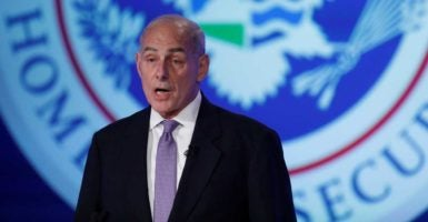 "Secretary of Homeland Security John Kelly speaks at an event titled ""Home and Away: DHS and the Threats to America"" at George Washington University. (Photo: Aaron P. Bernstein/Reuters/Newscom)"