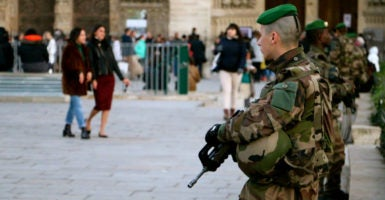 French soldiers stand guard in front of Notre Dame Cathedral in Paris in November 2015. (Photo: Nolan Peterson/The Daily Signal)