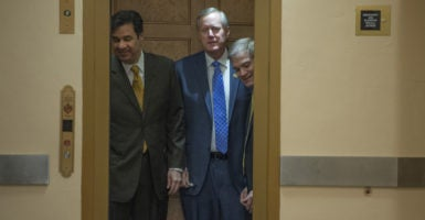 The House Freedom Caucus, whose leaders include Reps. Raúl Labrador, R-Idaho, left, Mark Meadows, R-N.C., middle, and Jim Jordan, R-Ohio, right, announced it would support a revised version of the House GOP's health care bill. (Photo: Tom Williams/CQ Roll Call/Newscom)