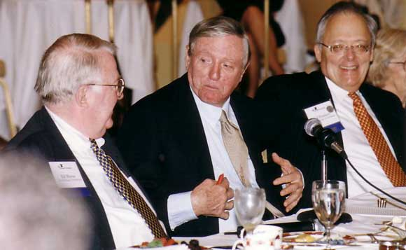 William F. Buckley (center) with former Attorney General Ed Meese (left) and Heritage President Ed Feulner (right)