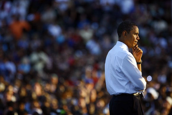 Barack Obama (D-IL) attends a rally October 18, 2008 in Orlando, Florida