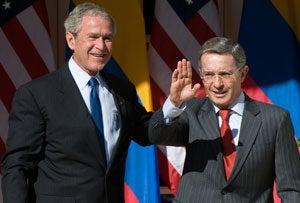 Colombia's President Alvaro Uribe at the White House, Sept. 20, 2008