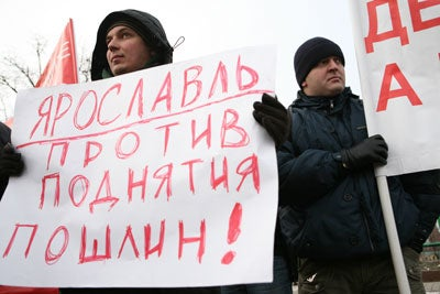Russian motorists rally (Photo by Valery Sharifulin/Newscom)