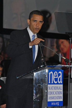 Then Senator Barack Obama speaks to an NEA Representative Assembly in Philadelphia, July 2007