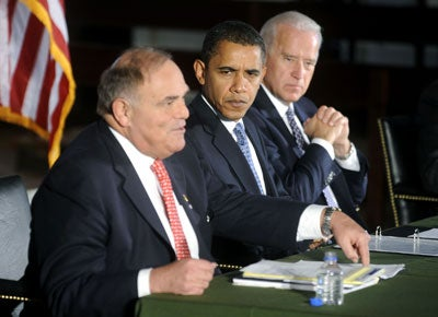 Then President-elect Barack Obama (C) and Vice President-elect Joe Biden (R) listen as Gov. Ed Rendell (D-PA) delivers his opening remarks during a National Governors Association meeting at Congress Hall in Philadelphia on December 2, 2008.