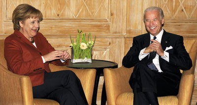 German Chancellor Angela Merkel and Vice President Joe Biden