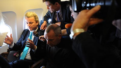 Dutch MP Geert Wilders was turned back at Heathrow yesterday as he tried to defy a ban on entering Britain.
