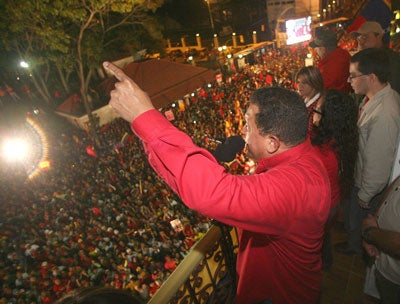 President Hugo Chavez Venezuela speaks to after the successful Referendum to Constitutional amendment in Caracas