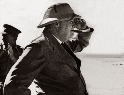 World War Two. British Prime Minister Winston Churchill viewing the Alemein position during his visit to the Western desert in the Middle East August 1942.