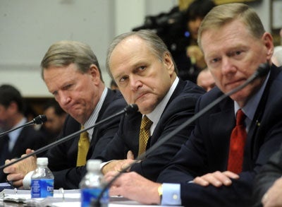 From left to right, Richard Wagoner Jr., Chairman and CEO of General Motors, Roger Nardelli, Chairman and CEO of Chrysler and Alan Mulally, President and CEO of Ford Motor Company