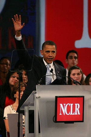 Jul 13, 2008 - San Diego, California, USA - Presidential candidate U.S. Senator BARACK OBAMA (D-IL), keynote speaker at the 'NCLR 40 years, A Stronger America Together' Annual Conference.The National Council of La Raza