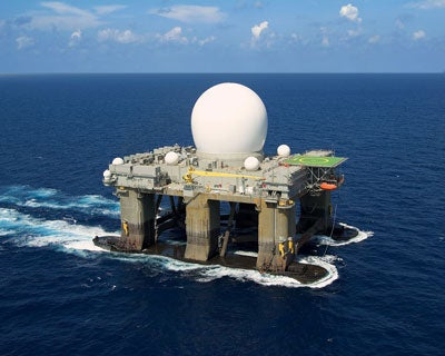 Sea based X-band Radar It may look like something straight from a science-fiction novel, but this unusual structure is actually part of the United States Government's Ballistic Missile Defence system. The Sea-based X-band Radar, originally built at Vyborg, is an important part of the American defence system. The structure itself is a floating, self-launched, mobile radar station, built to operate in high winds and heavy sea situations. The Goliath-like construction, with a height of 85 metres (279 feet) and a length of 116 metres (381 feet), has its uses - detecting incoming ballistic missiles.