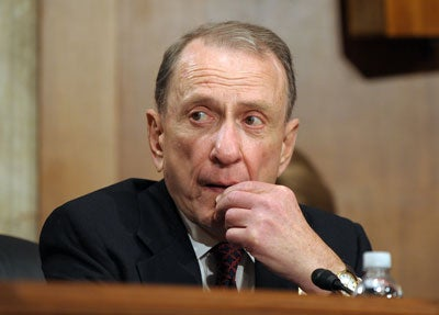 Pennsylvania Sen. Arlen Specter participates in a Senate Appropriations Labor, Health and Human Services, Education and Related Agencies Subcommittee hearing on the public health response to the Swine Flu on Capitol Hill in Washington on April 28, 2009. Specter announced today he is switching from Republican to Democrat.