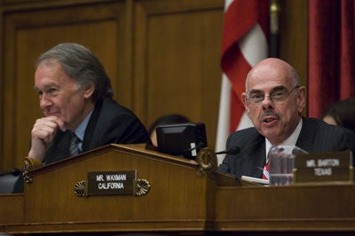 WASHINGTON, DC - April 22: Subcommittee Chairman Edward J. Markey, D-Mass., and House Energy and Commerce Chairman Henry A. Waxman, D-Calif., during the joint hearing on climate change legislation.