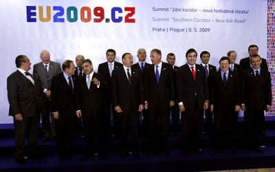 A group photo during the Eastern Partnership (Modern Silk Road energy Summit) Summit in Prague, Czech Republic, on May 8, 2009.