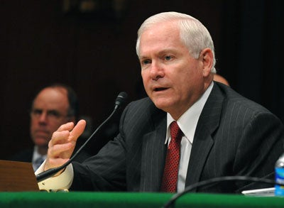 Secretary of Defense Robert Gates testifies before a Senate Appropriations Committee hearing on the budget estimates for the war supplemental for the FY2009 budget, on Capitol Hill in Washington on April 30, 2009.