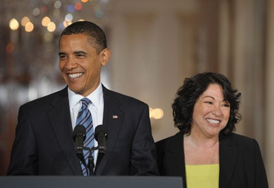 US President Barack Obama stands alongside his nominee for Supreme Court Justice, Appeals Court Judge Sonia Sotomayor, in the East Room of the White House in Washington, DC, May 26, 2009. Sotomayor is to serve as the first Hispanic justice on the Supreme Court.
