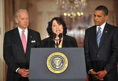 Washington, D.C. - May 26, 2009 -- Judge Sonia Sotomayor of the Federal Appeals Court , center, makes remarks after United States President Barack Obama, right, named her as his nominee for Justice of the U.S. Supreme Court in the East Room of the White House on Tuesday, May 26, 2009. She will replace retiring Justice David Souter. Judge Sotomayor, 54, of The Bronx, New York, will be the first Hispanic to serve if her nomination is approved by the U.S. Senate. Vice President Joseph Biden looks on from the left.