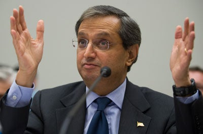 Vikram Pandit, CEO of Citi, testifies on the use of Troubled Asset Relief Program (TARP) funds before the House Financial Services Committee at the US Capitol in Washington, DC, February 11, 2009.