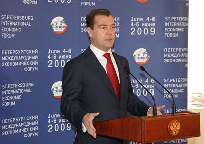 ST PETERSBURG, RUSSIA. JUNE 6, 2009. Russian president Dmitry Medvedev speaks during a meeting with international bankers and business leaders during the 2009 St Petersburg International Economic Forum.