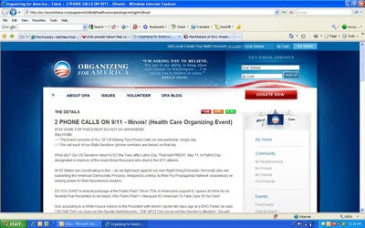 Screen grab of the page on mybarrackobama.com that called opponents of the Health Care push Right Wing Domestic Terrorists