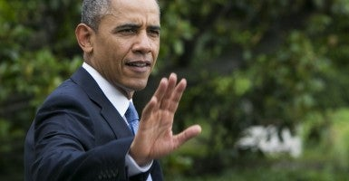 President Obama on his way to West Point. (Photo: Polaris/Newscom)