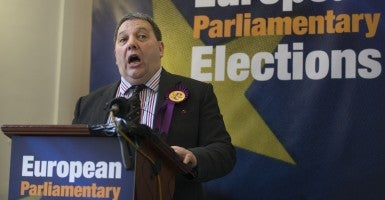 David Coburn, newly-elected MEP (one of six) for Scotland, shortly after the declaration for the European Elections at Edinburgh City Council. (Photo: James Glossop/Newscom)
