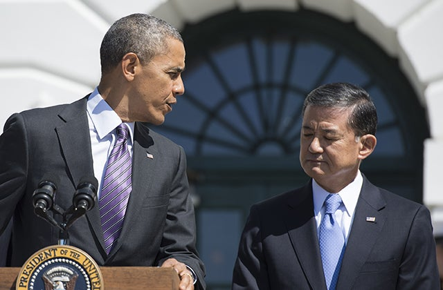 President Barack Obama and Veterans Affairs Secretary Eric Shinseki. (Photo: KEVIN DIETSCH/UPI/Newscom)