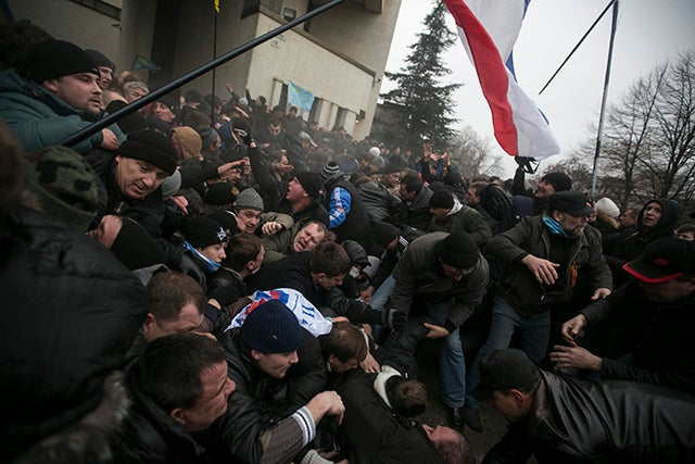 Thousands of pro-Russia separatists tussled with supporters of Ukraine's new leaders in Crimea on Wednesday as tempers boiled over the future of the region. (Photo: REUTERS/Baz Ratner/Newscom)