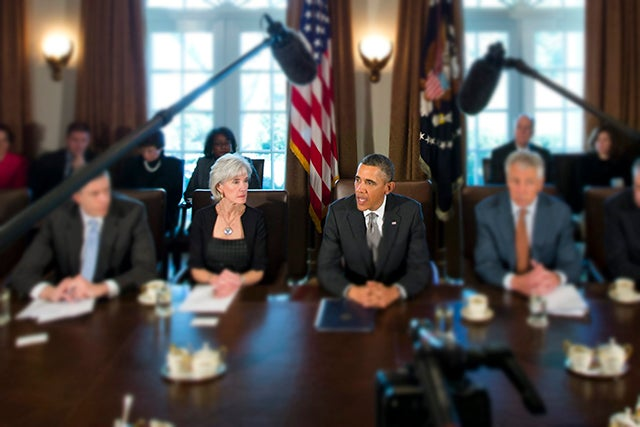 Secretary of Health and Human Services Kathleen Sebelius and President Barack Obama at a cabinet meeting. Photo: EPA/JIM LO SCALZO/Newscom