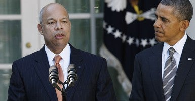 Secretary of Homeland Security Jeh Johnson and President Barack Obama. (Photo credit: Fang Zhe)