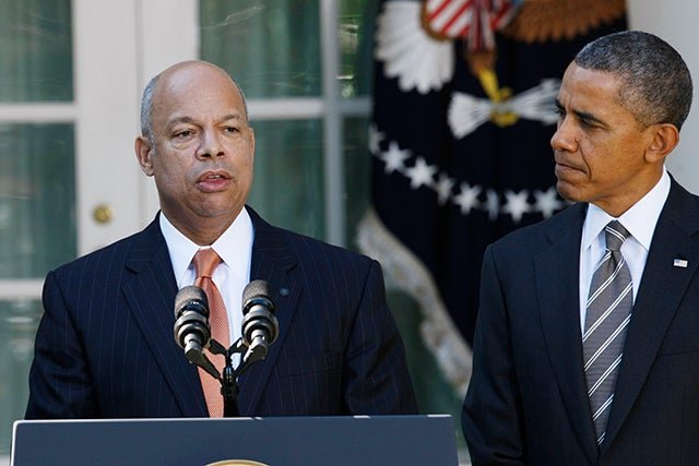 Secretary of Homeland Security Jeh Johnson and President Barack Obama. Photo credit: Fang Zhe