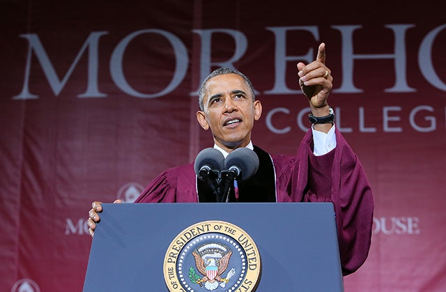 President Barack Obama delivers the commencement speech at Morehouse College on Sunday, May 19, 2013. Photo: CURTIS COMPTON/ABACAUSA.COM/Newscom