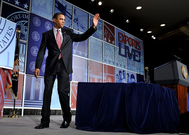 President Barack Obama waves at the Export-Import Bank's annual conference in Washington, DC in 2010. (Photo: KEVIN DIETSCH / POOL/EPA/Newscom)