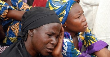 Mothers of the missing Chibok school girls abducted by Boko Haram Islamists gather to receive information from officials. (Photo: AFP/Newscom)