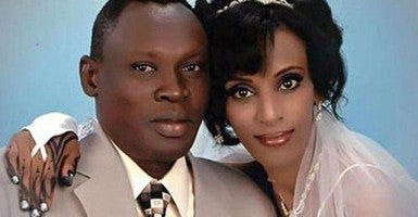 Meriam Yahia Ibrahim Ishag and her husband, Daniel Wani. (Photo: Martin Bloem via Twitter)