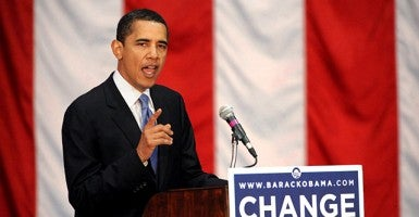 Then-Sen. Barack Obama (D-IL) campaigning for his presiden